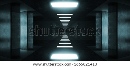 Futuristic Modern Sci Fi Dark Elegant Grunge Concrete Empty Long Tunnel Corridor Reflective Material Empty Space For Text And Blue Window Light Led Concrete Big Columns 3D Rendering Illustration #1665821413