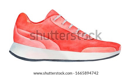 Water color illustration of bright red sneaker with white laces. One single object, side view. Hand painted watercolour graphic draw on white background, cutout clip art element for creative design.
