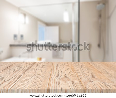 Table Top And Blur Bathroom Of The Background #1665935266