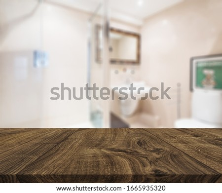 Table Top And Blur Bathroom Of The Background #1665935320