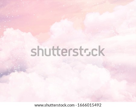 Sugar cotton pink clouds vector design background. Glamour fairytale backdrop. Plane sky view with stars and sunset. Watercolor style texture. Delicate card. Elegant decoration. Fantasy pastel color #1666015492