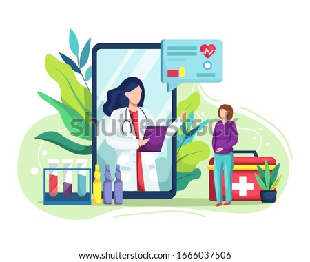 Vector illustration Online medical concept. Medical Consultation by Internet with Doctor. Online Doctor, Telemedicine, Medical Service Online for Patients. Health Care Online. Vector illustration in a #1666037506