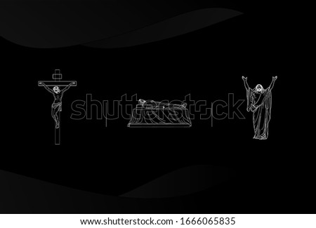 Black background with iconic images about Jesus.