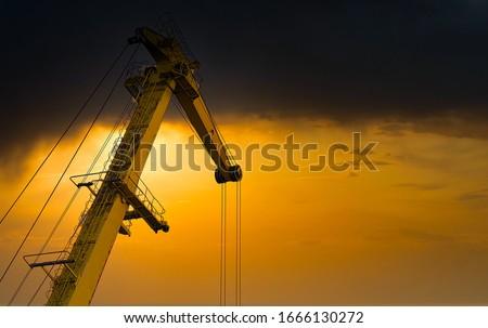 Yellow crane in cargo port translating coal. Industrial scene Royalty-Free Stock Photo #1666130272
