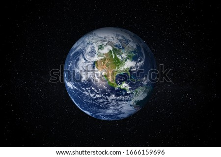 Planet Earth in the Starry Sky of Solar System in Space. This image elements furnished by NASA. Royalty-Free Stock Photo #1666159696