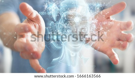 Man on blurred background using digital artificial intelligence holographic projection 3D rendering Royalty-Free Stock Photo #1666163566