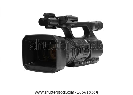 Video camera on white background #166618364