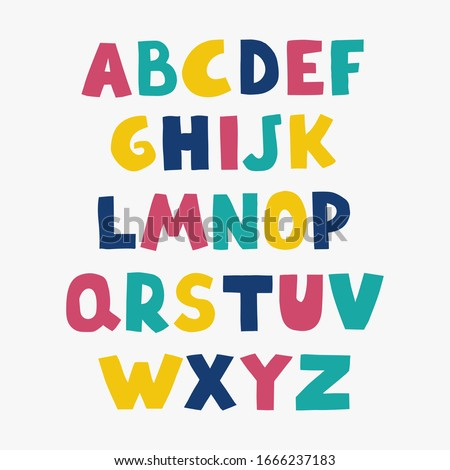 Cute colorful alphabet for kids. Can be used as elemets for your design for greeting cards, nursery, poster, card, birthday party, packaging paper design, baby t-shirts prints