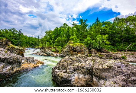 Mountain river wild rock view. River wild rocks. Forest river wild view #1666250002