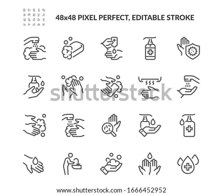Simple Set of Washing Hands Related Vector Line Icons. Contains such Icons as Washing Instruction,  Antiseptic, Soap and more. Editable Stroke. 48x48 Pixel Perfect. #1666452952
