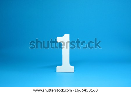 No. 1 ( One ) Isolated Blue  Background with Copy Space - Number 1 Percentage or Promotion success and the best winner Concept #1666453168