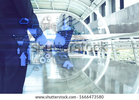 businessman with laptop computer and network concept with data icon cloud storage, ai technology, business with digital internet #1666473580