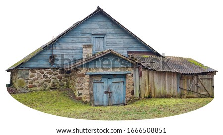 Usual noname wooden vintage  retro  rural shed  barn for storage of firewood and agricultural tools. Isolated on white with patch #1666508851