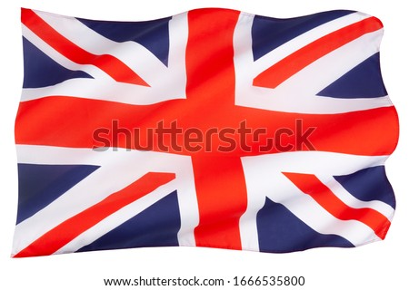The flag of the United Kingdom of Great Britain and Northern Ireland - The Union Jack - isolated on white. Royalty-Free Stock Photo #1666535800
