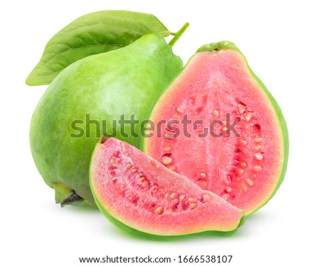 Isolated guavas. One whole guava fruit, a half and a slice with pink flesh isolated on white background #1666538107