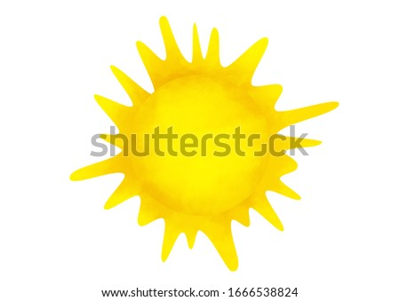 Decorative sun illustration in kids style. Clip art, sticker on white background