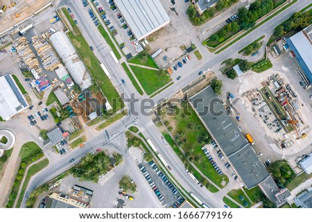 industrial buildings, aerial top down view. drone photo of city suburbs #1666779196