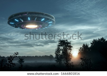UFO, an alien plate hovering over the field, hovering motionless in the air. Unidentified flying object, alien invasion, extraterrestrial life, space travel, humanoid spaceship mixed medium #1666801816