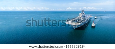 Nuclear ship, Military navy ship carrier full loading fighter jet aircraft and helicopter patrol. #1666829194