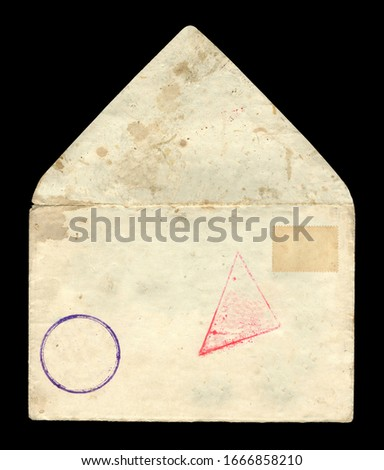 Old postage envelope with blue and red seal and postage stamp on a black background, message. #1666858210