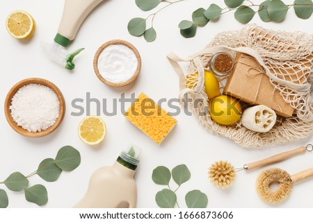 Eco friendly natural cleaners, cleaning products, chemical detergent bottles, flat lay on white background Royalty-Free Stock Photo #1666873606