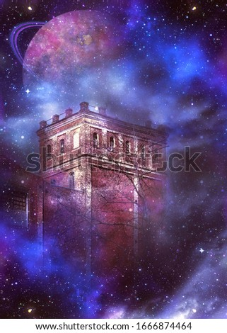Old brick castle tower night scene with fantasy starry fog and planets background.