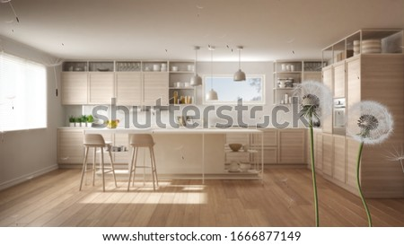 Fluffy airy dandelion with blowing seeds spores over white and wooden kitchen with island, stools and parquet floor. Interior design idea. Change, growth, movement and freedom concept, 3d illustration #1666877149
