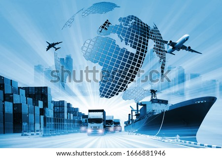 The world logistics  background or transportation Industry or shipping business, Container Cargo  shipment , truck delivery, airplane , import export Concept Royalty-Free Stock Photo #1666881946