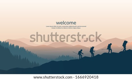 Vector background with tourists. Travel concept of discovering, exploring and observing nature. Hiking. Travelers climb with backpack and travel walking sticks. Website template. Flat landscape #1666920418