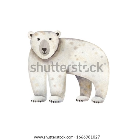 Cute polar bear-watercolor illustration isolated on white background. Cartoon stylized animal character, hand drawn clipart. Illustration for clothes, stickers, baby shower, greeting cards, prints.