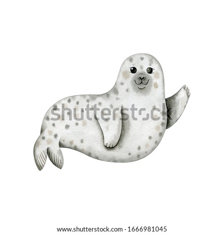 Cute seal-watercolor illustration isolated on white background. Cartoon stylized animal character, hand drawn clipart. Illustration for clothes, apparel, stickers, baby shower, greeting cards, prints.