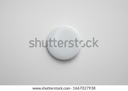 White pin button. Pin button set. Collection of realistic pin buttons. White blank badge pin brooch isolated on white background. Photo of badge.Badge Mock-up isolated on background. #1667027938