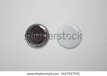 White pin button. Pin button set. Collection of realistic pin buttons. White blank badge pin brooch isolated on white background. Photo of badge.Badge Mock-up isolated on background. #1667027941