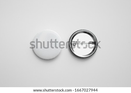 White pin button. Pin button set. Collection of realistic pin buttons. White blank badge pin brooch isolated on white background. Photo of badge.Badge Mock-up isolated on background. #1667027944