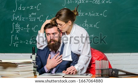Teacher and student flirting. Sexual provocation. Provoke sexual desire. Desirable girl cuddling teacher. Smart is new sexy. Teaching with passion. Resist temptation. Sexual temptation at workplace. #1667064880