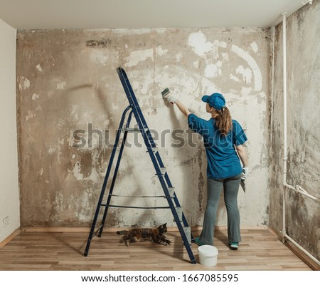 A young woman in a blue t-shirt and a baseball cap makes repairs in the apartment. Cleans the wall with a putty knife. Next on the stairs cat sits. Wall preparation for painting. #1667085595