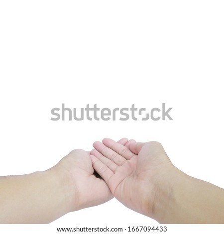 Beautiful hands. Isolated on a white background, clipping path included, Close-up #1667094433