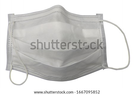 White mask with rubber ear straps. mask to cover mouth and nose. Procedure mask from bacteria. concept wearing mask for protect virus and pollution  on white background, with clipping paths. #1667095852