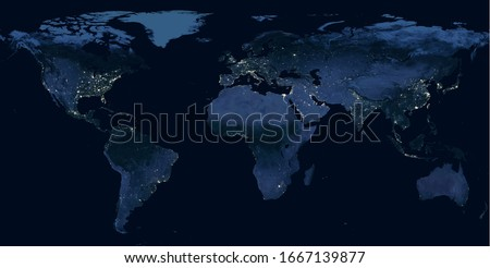 Earth at night, view of city lights showing human activity in North America, Europe and East Asia from space. World dark map on global satellite photo. Elements of this image furnished by NASA. #1667139877