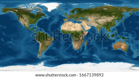 Earth flat view from space. Detailed World physical map on global satellite photo. Panoramic planet map with texture surface. Elements of this image furnished by NASA. #1667139892