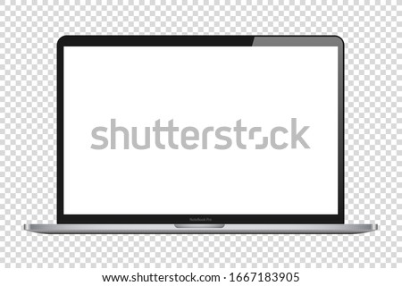 laptop isolate blank screen display mockup pc vector Royalty-Free Stock Photo #1667183905