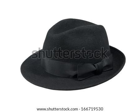 Black felt hat isolated on white background #166719530