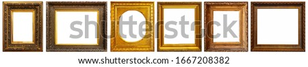 Set of golden antique frames on a white background isolated Royalty-Free Stock Photo #1667208382