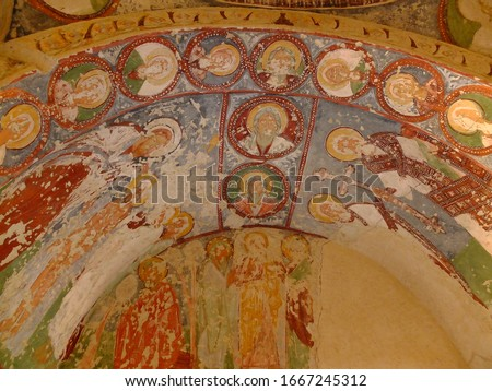 Early christian mosaics in ancient cave church in Cappadocia