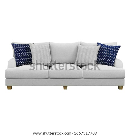 Gray Mid Back Linen Sofa Bed Isolated on White. Upholstered Loveseat with Armrests and Seat Cushion Front View. Three 3 Seater Studio Couch with Four Blue and White Scatter Pillows #1667317789