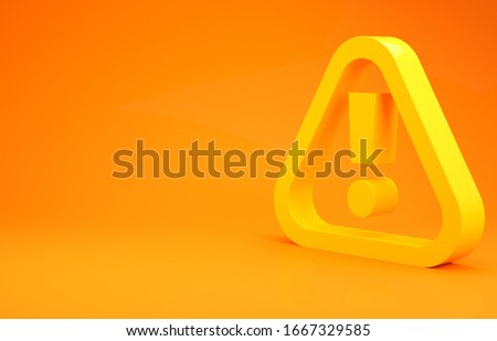 Yellow Exclamation mark in triangle icon isolated on orange background. Hazard warning sign, careful, attention, danger warning important. Minimalism concept. 3d illustration 3D render