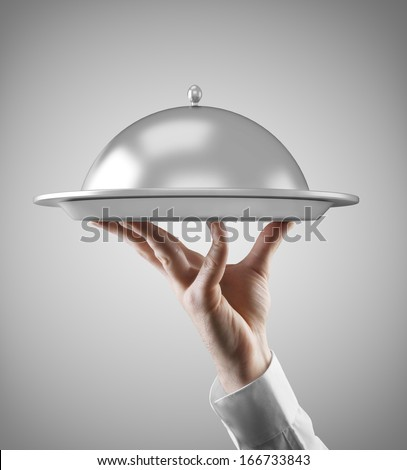 Hand holding dish isolated on gray background #166733843