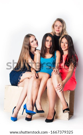 many girlfriends hugging celebration on white background, smiling talking chat, lifestyle people concept #1667379325