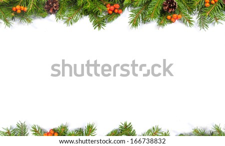Christmas green  framework with cones and holly berry  isolated on white background #166738832