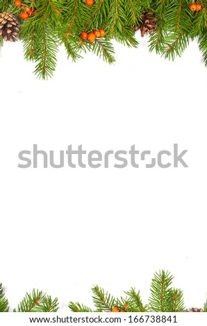 Christmas green  framework with cones and holly berry  isolated on white background #166738841